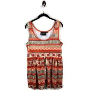 MinkPink Orange Elephant Print Waist Tie Dress L